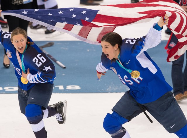 Knight, right, celebrates after winning Gold in Pyeongchang in 2018 (PA Images)