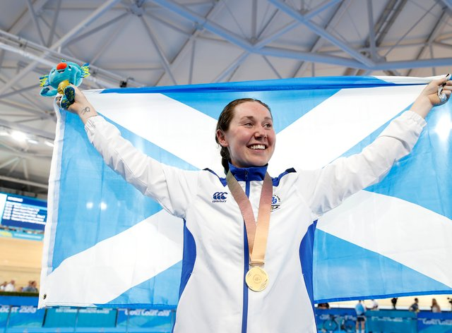 Katie Archibald celebrating her gold medal in the Women's 3000m Individual Pursuit at the 2018 Commonwealth Games (PA Images)