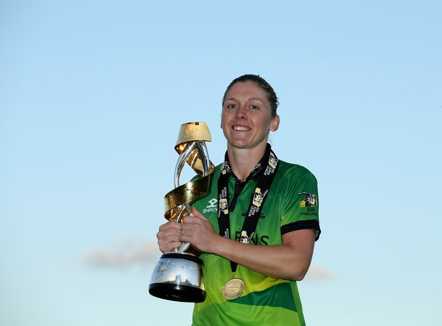 Heather Knight celebrates guiding Western Storm to the final Kia Super League title (PA Images)