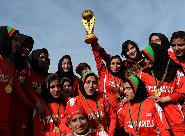 The Afghan national women's team have made waves with their #voice4voiceless campaign (Minky Worden Twitter)