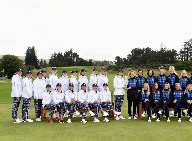 Team USA and team Europe prepare to do battle on the green (PA Images)