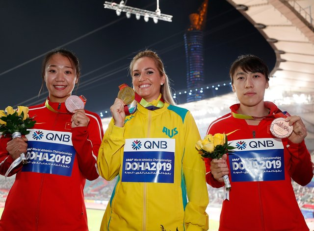 Kelsey-Lee Barber won Australia's first javelin gold medal in world championships history (PA Images)