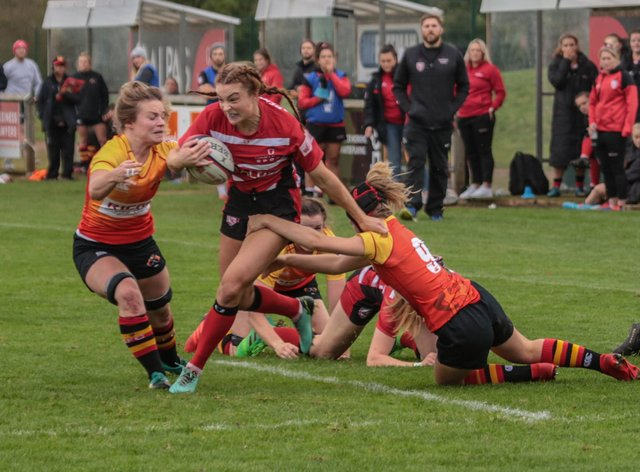 Gloucester-Hartpury's Kelly Smith (ball in hand) scored two tries for her side (Gloucester-Hartpury Twitter)