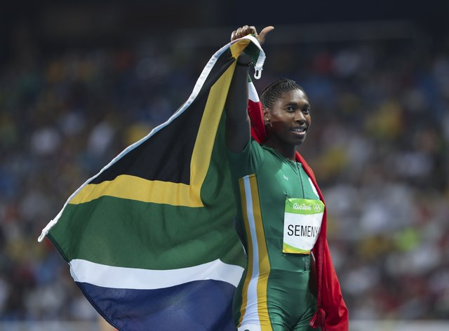 Caster Semenya after winning her second Olympic 800m gold medal (PA Images)