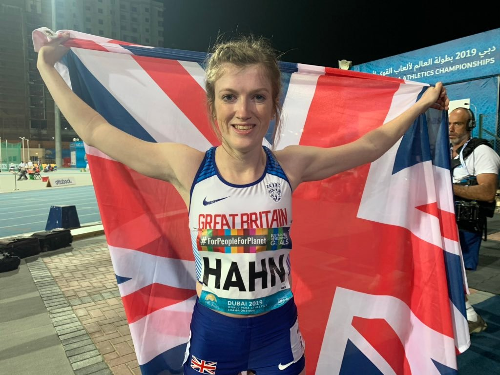 Sophie Hahn breaks own world record at World Para Athletics Championships to claim fourth T38 100m title in Dubai