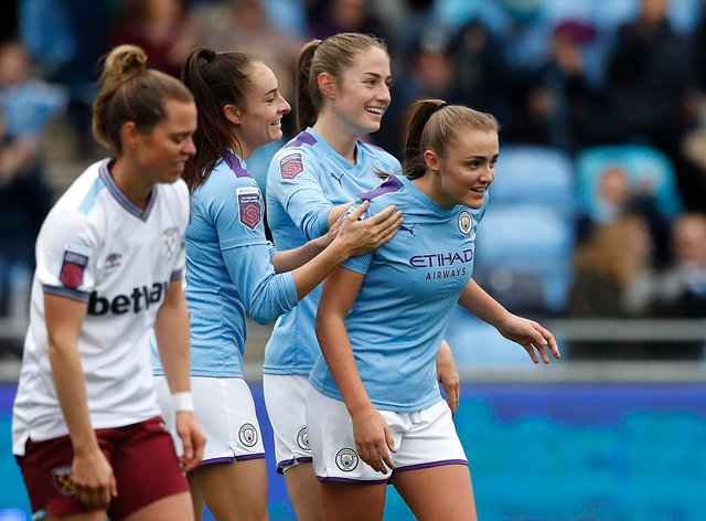 Georgia Stanway celebrates scoring her team's second goal of the game (PA Images)