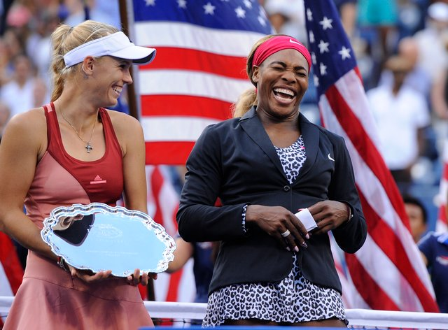 Wozniacki with Williams at the US Open in 2014 (PA Images)
