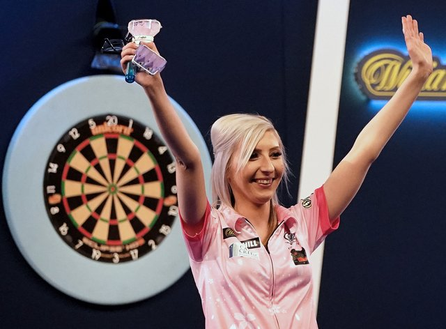 Sherrock made history at Alexandra Palace and is now challenging in Premier League Darts (PA Images)