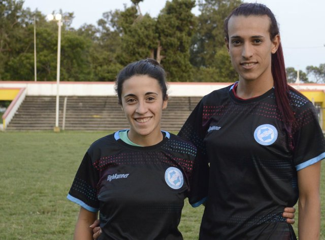 Transgender player Mara Gomez, right, with another new signing Ludmila Angeli  (Villa San Carlos)