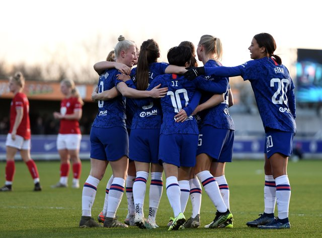 Chelsea put six past Bristol City to keep the pressure up at the top of the WSL (Twitter: Chelsea Women)