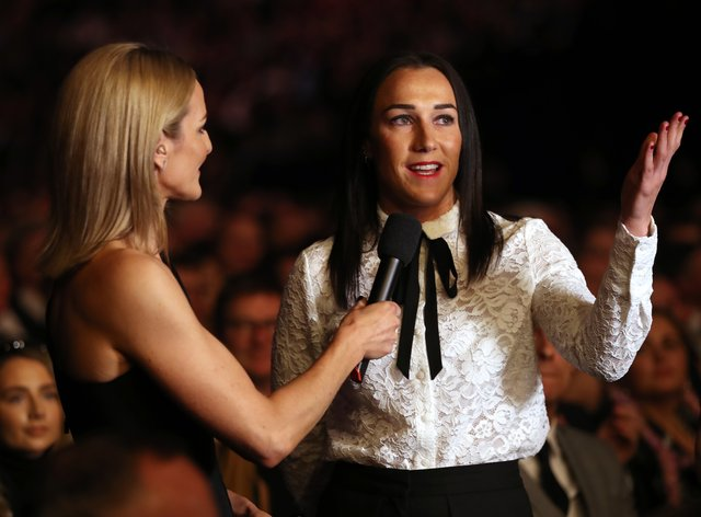 Lucy Bronze with Gabby Logan at the BBC's Sports Personality of the Year ceremony in December (PA Images)
