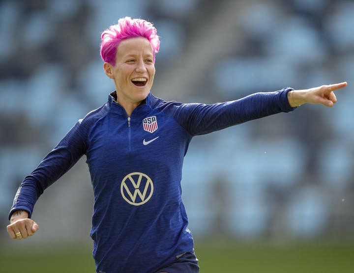 USA football star Megan Rapinoe fronts her first fashion campaign and labels it a chance to 'express herself' outside of sport
