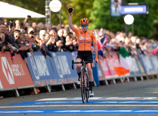 Van der Breggen celebrated finishing second behind team-mate Annemiek van Vleuten in the 2019 world road race championships (PA Images)