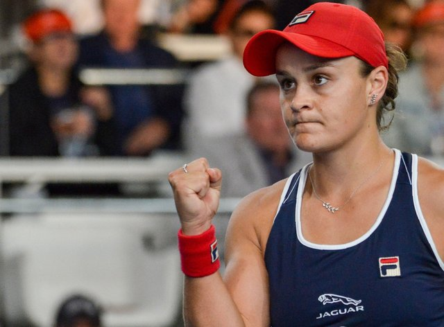 Ashleigh Barty fought hard to earn her win against Danielle Collins (Twitter: @TennisAustralia)