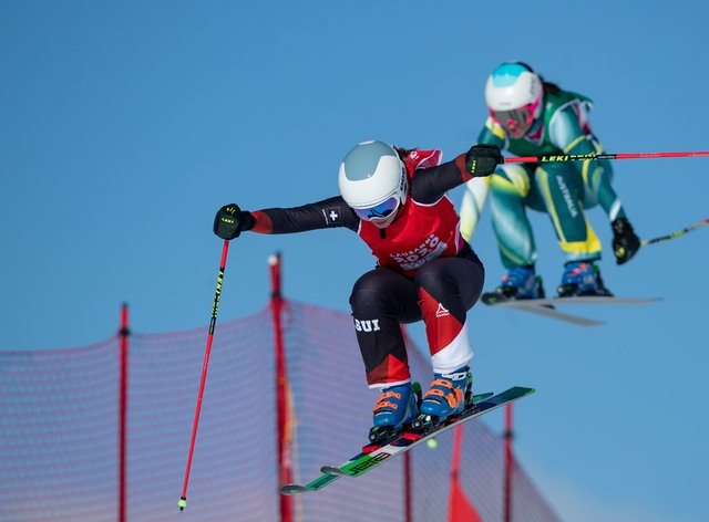 Marie Karoline Krista flew into the top spot for the host nation (Twitter: @OIS_Olympic)