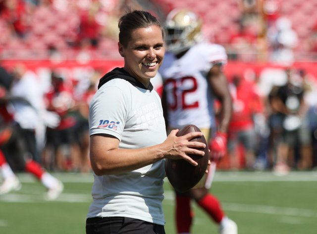 Katie Sowers' career has progressed all the way to the Super Bowl (PA Images)