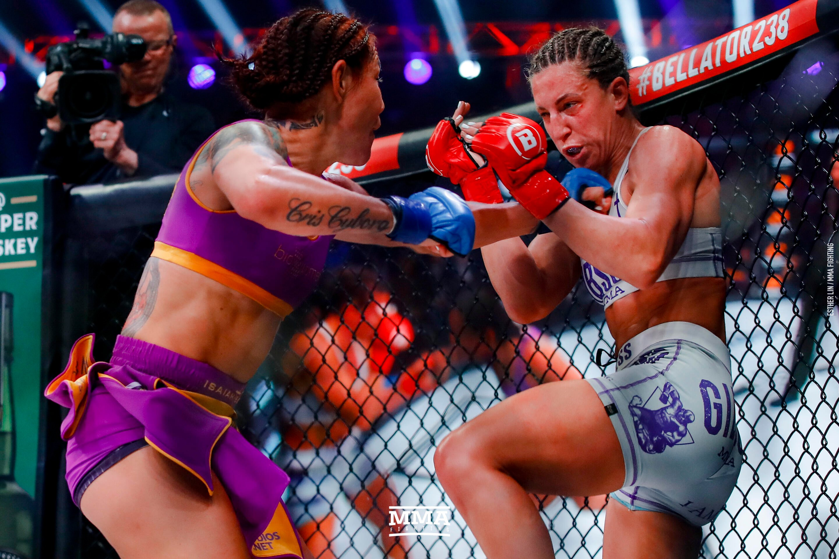 Cris Cyborg makes history taking Bellator featherweight title after knocking out Julia Budd in fourth round to become world champion in four promotions including IFC, UFC and Strikeforce