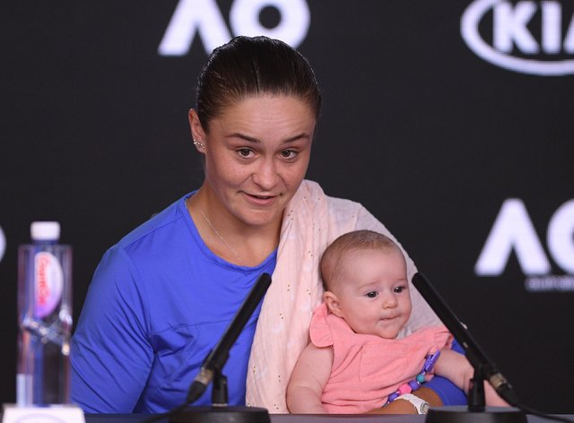 Barty conducted the post-match press conference with her newest niece (PA Images)