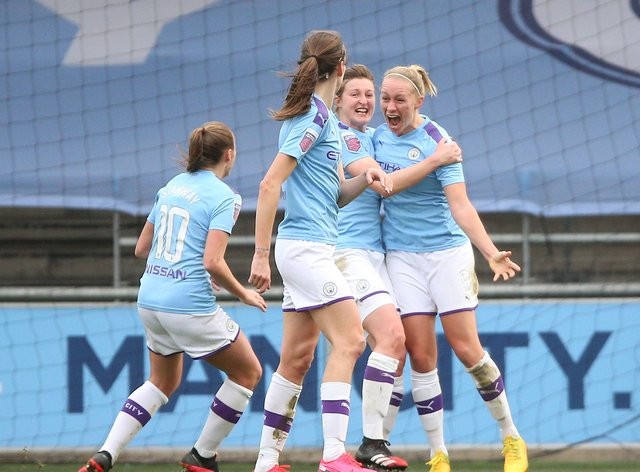 City's Bremer celebrates her goal (PA Images)