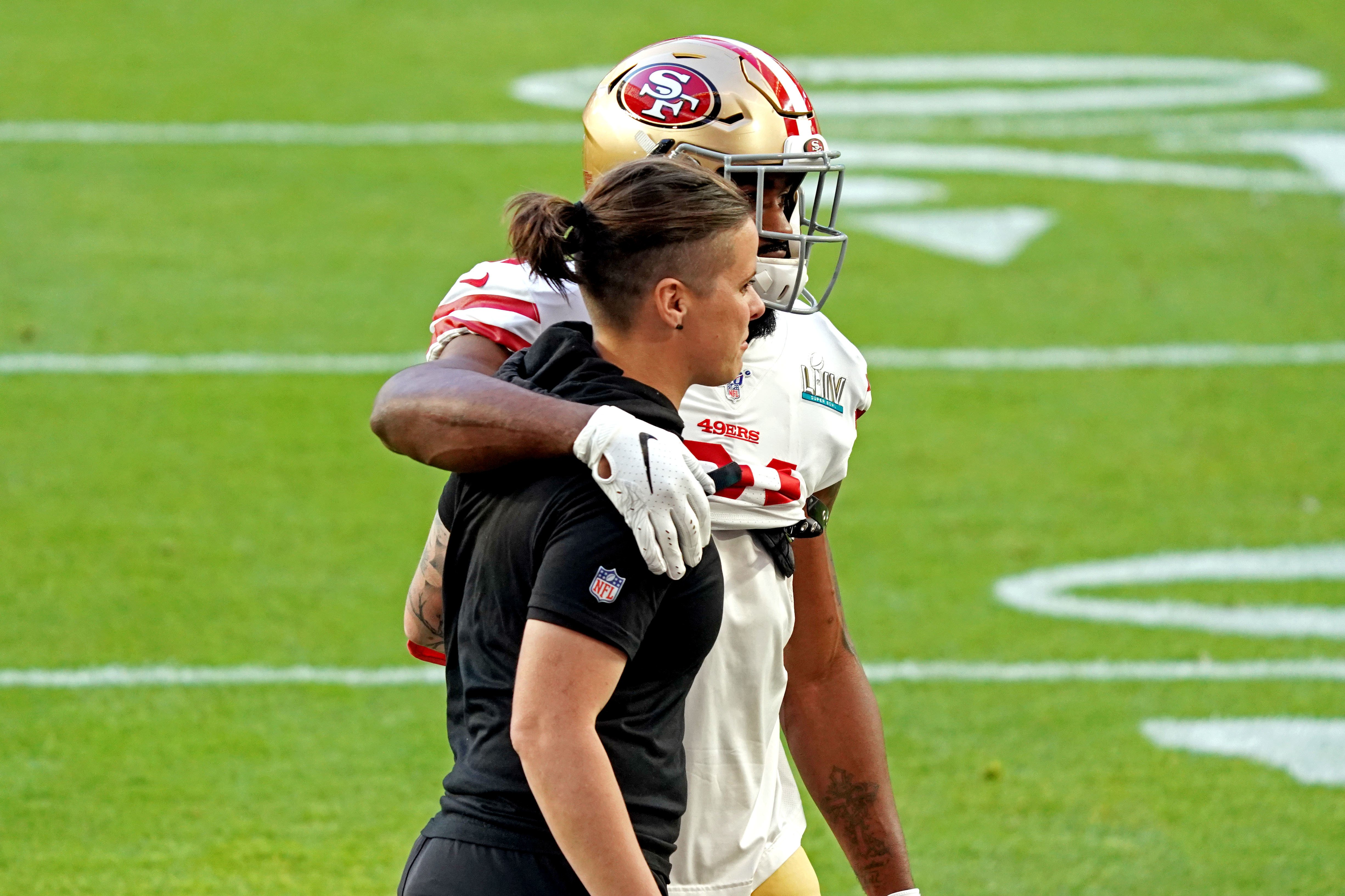 San Francisco 49ers' history-making offensive coach Katie Sowers says Super Bowl defeat to Kansas City Chiefs reminds her of 'all the hatred in this world'