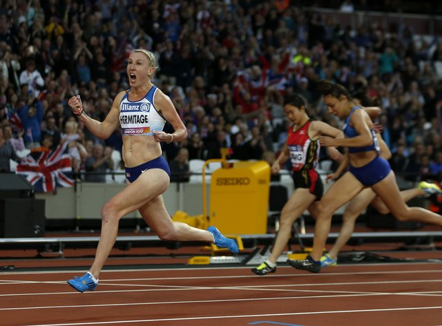 Hermitage celebrates her gold medal in the T37 100m in London (PA Images)
