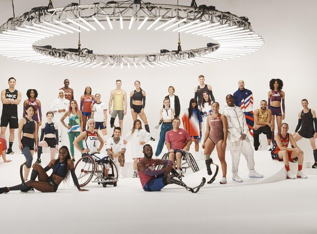 Dina Asher-Smith (front left), Katarina Johnson-Thompson (back centre) and Caster Semenya (front right) model alongside athletes from all over the world (Nike)