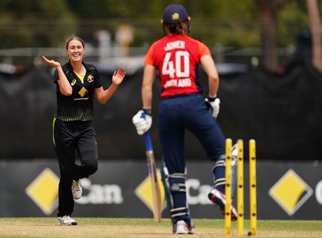 Tayla Vlaeminck celebrates the wicket of Amy Jones (PA Images)