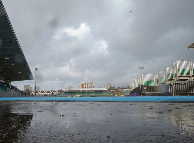 The sad sight of the Scotstoun Stadium in Glasgow as Storm Ciara took its toll today (PA Images)