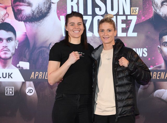 Marshall (left) alongside her friend and fellow north east fighter April Hunter (right) (Twitter: Matchroom Boxing)