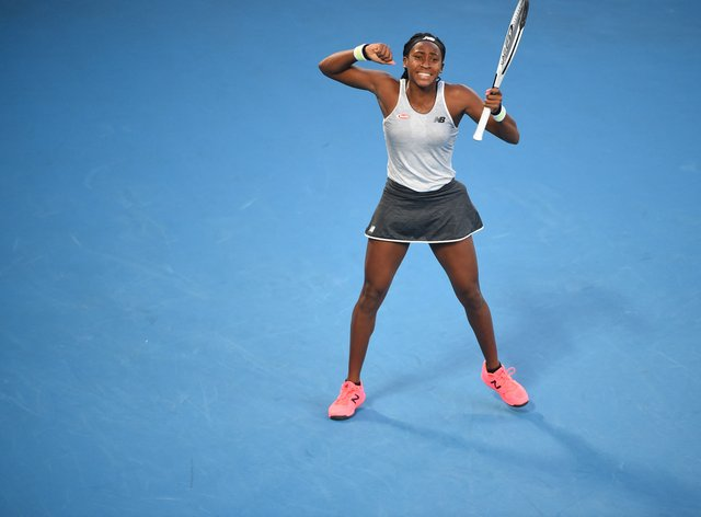 Gauff celebrates on her way to the fourth round at the Australian Open 2020 (PA Images)