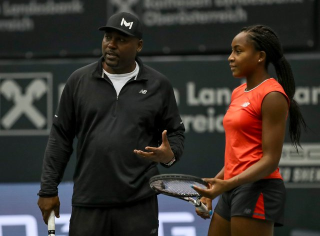 Corey Gauff oversees daughter Coco in a training session (PA Images)