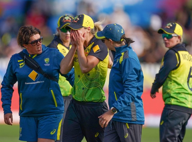 Perry went down in Australia's match with New Zealand (PA Images)
