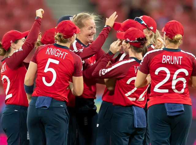 England celebrate qualifying for the semi-finals (PA Images)