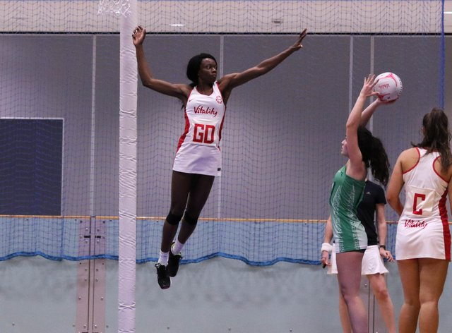 Funmi Fadoju made her first senior appearance when she won the Netball Europe Open in 2019 (Twitter: England Netball)