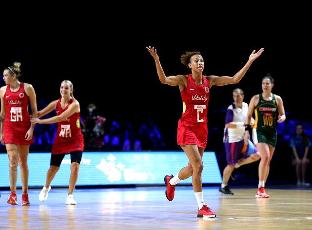 Guthrie in action for the Roses at the Vitality Netball World Cup in Liverpool (PA Images)