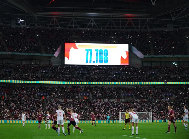 The attendance at Wembley is highlighted as England played Germany in November