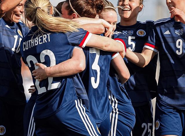 The Scottish side celebrate Grant's first international goal (Instagram: @scotlandnationalteam)