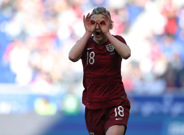 White celebrated with her trademark celebration after snatching victory for the Lionesses (PA Images)