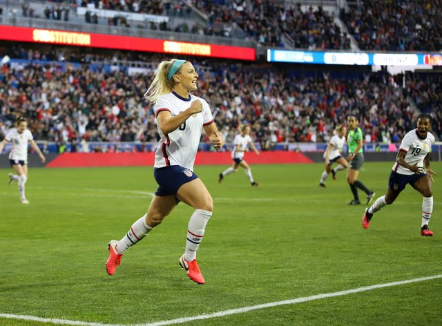 Ertz's goal proved the difference as the US made it two wins from two in the SheBelieves Cup (PA Images)