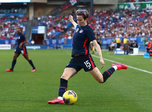 Rapinoe opened the scoring in the US' final game of the SheBelieves Cup (PA Images)