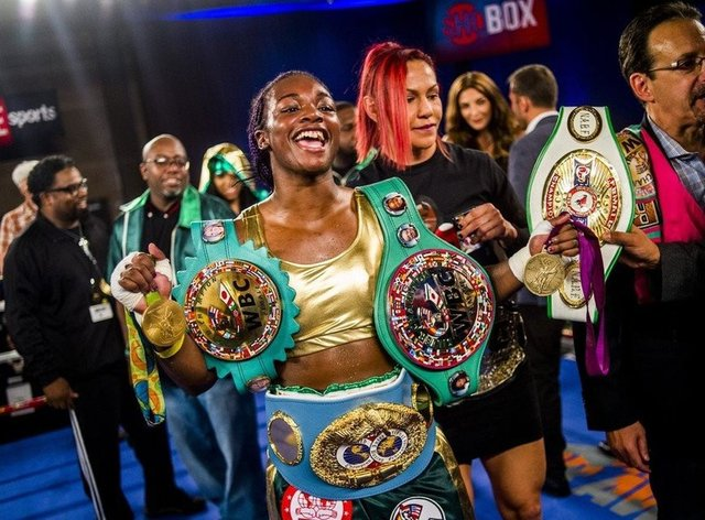 Shields is a three-weight world champion but will have to wait for her next defence (Twitter: @AllofTheBelts)