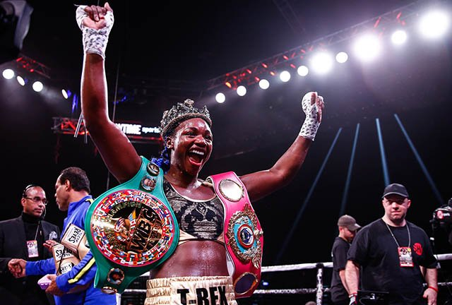 Shields became a three-weight world champion in the fewest fights of any boxer in history (Twitter: @tornadofist)
