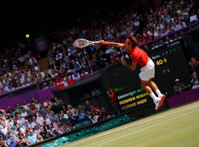 Federer in action for Switzerland at the London 2012 Olympics (PA Images)