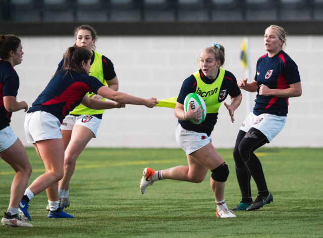 Abi, with the ball, in action at a GB squad weekend (Abi Burton)