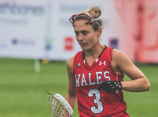 Emma Hawkins has played for Wales since she was 17 and has been a GP for nine years (Twitter: Wales Women Lacrosse)