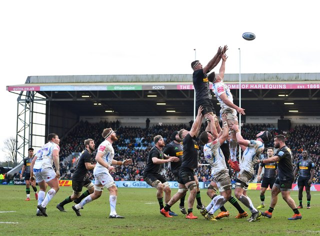Top-of-the table Exeter in action against Harlequins before the season was suspended (PA Images)