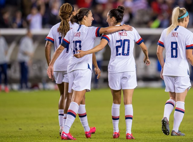 The US women's soccer team are seeking $50m damages  (PA Images)