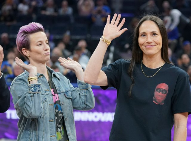 Megan Rapinoe was joined by her partner and basketball player Sue Bird for the ESPYS