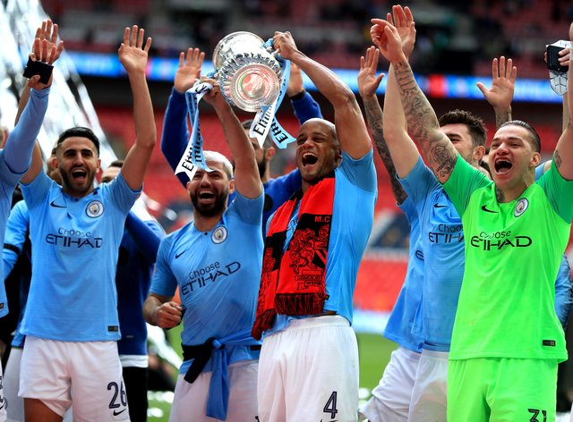 Wembley is a potential venue for the remaining seven games of this season's FA Cup, in which holders Manchester City still have an interest (PA Images)