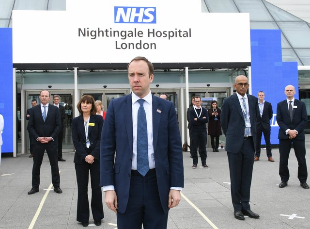 Health Secretary Matt Hancock at the opening of the NHS Nightingale Hospital in London (PA Images))